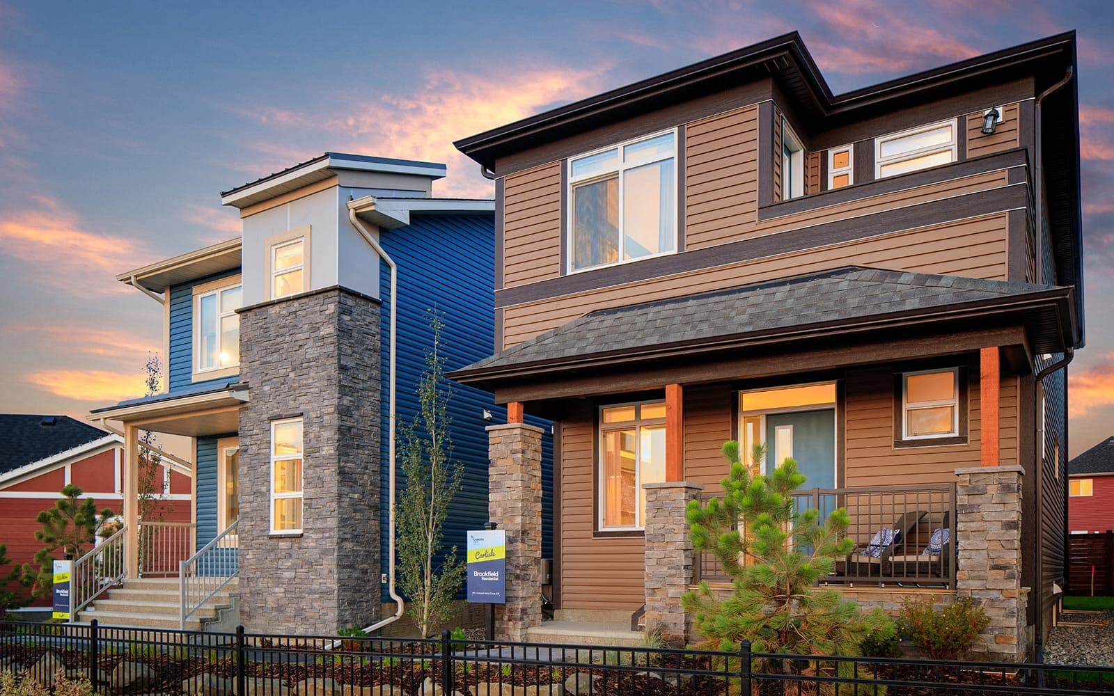 Laned homes exteriors at Chinook Gate in Airdrie, Alberta by Brookfield Residential