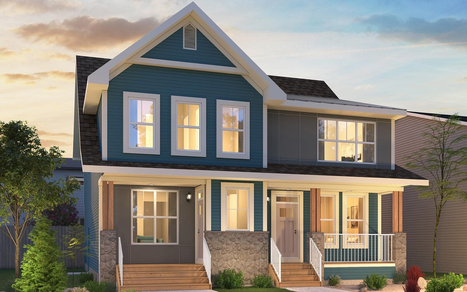 Rendering of duplex homes exterior at Chinook Gate in Airdrie, Alberta by Brookfield Residential