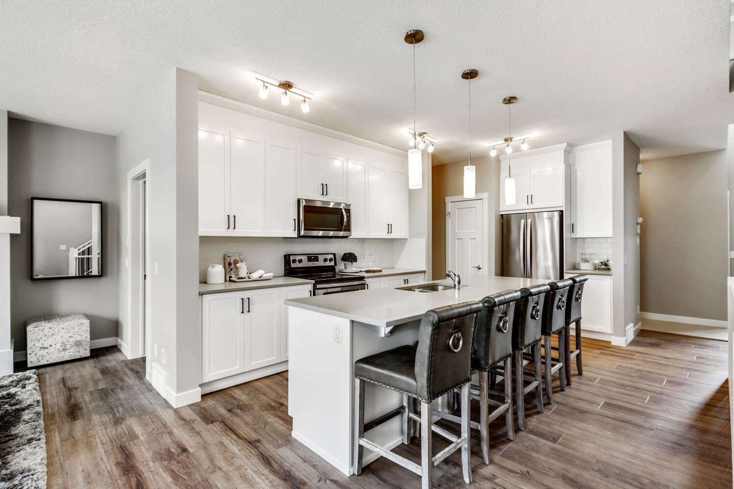 Beautiful kitchen with open concept living in the Austin model in Cranston