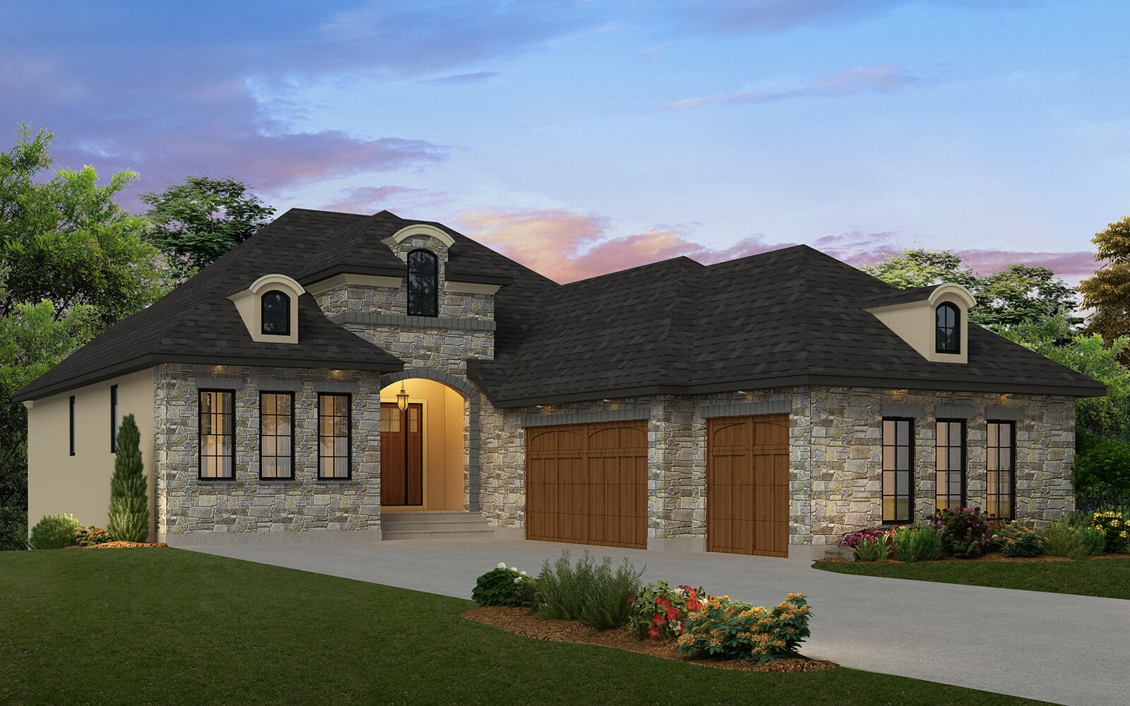 the exterior rendering in the carrara 2 in cranstons riverstone