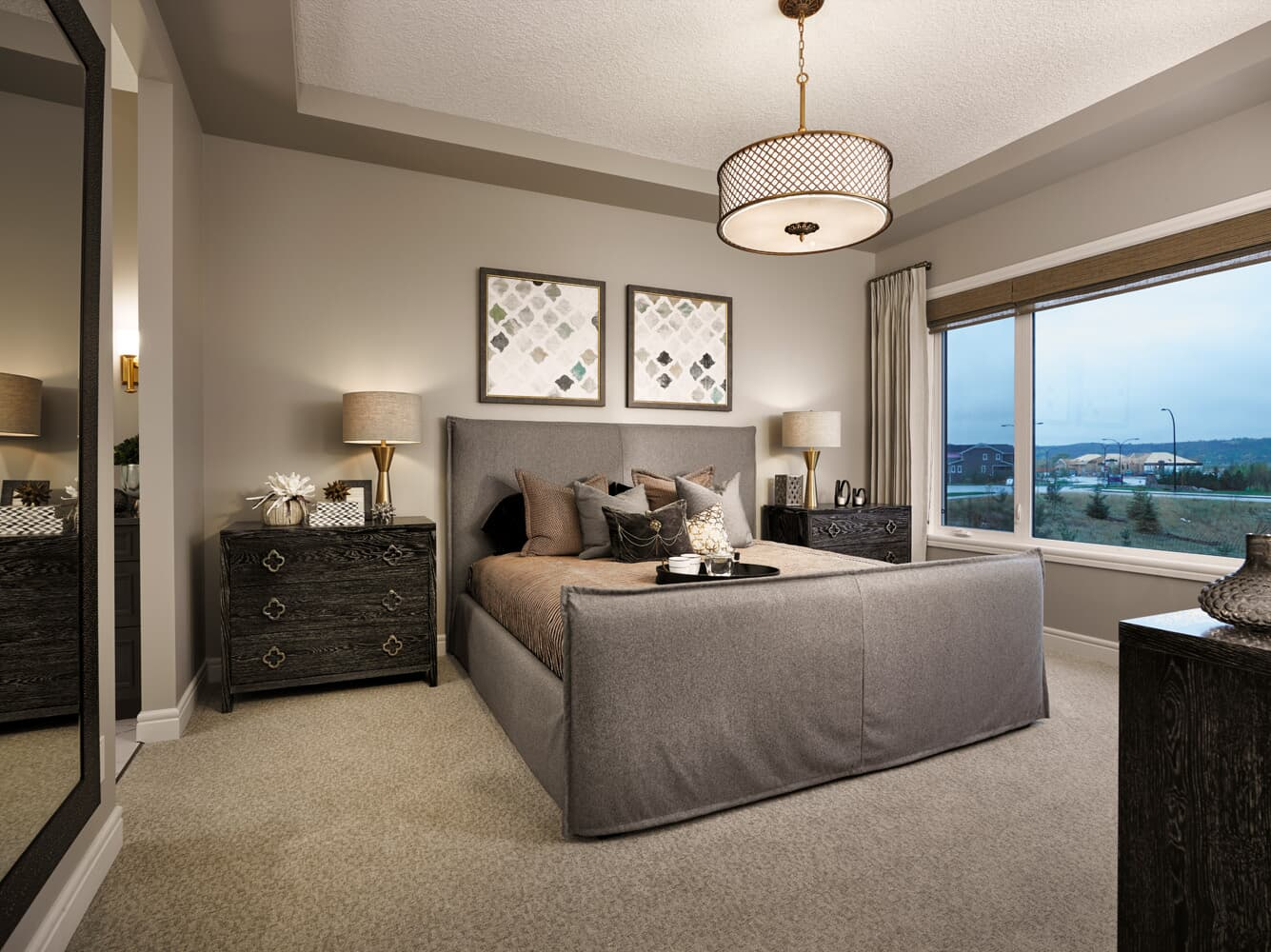 the master bedroom in the carrara 2 in cranstons riverstone