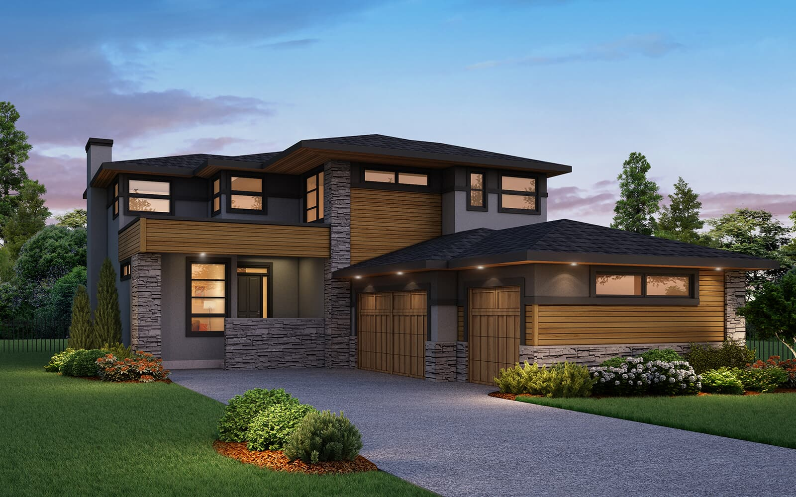 Exterior Rendering for the Prairie elevation of the imperia in cranston