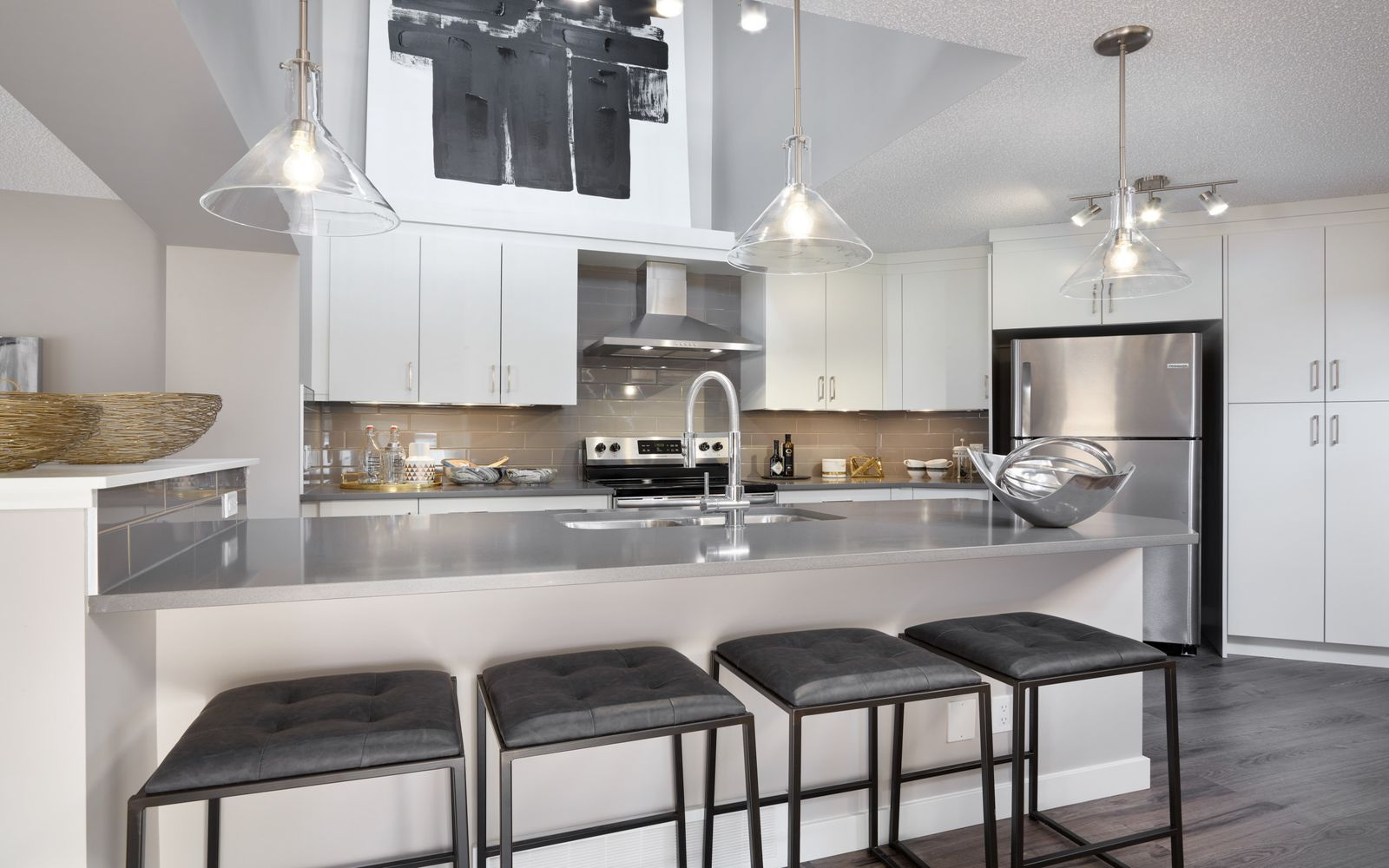 The kitchen in the Belvedere 3 model by Brookfield Residential in Calgary.