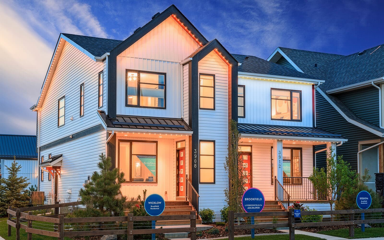 A photo of the exteriors of the Brookfield Residential Duplex Show Homes in Seton, Calgary.