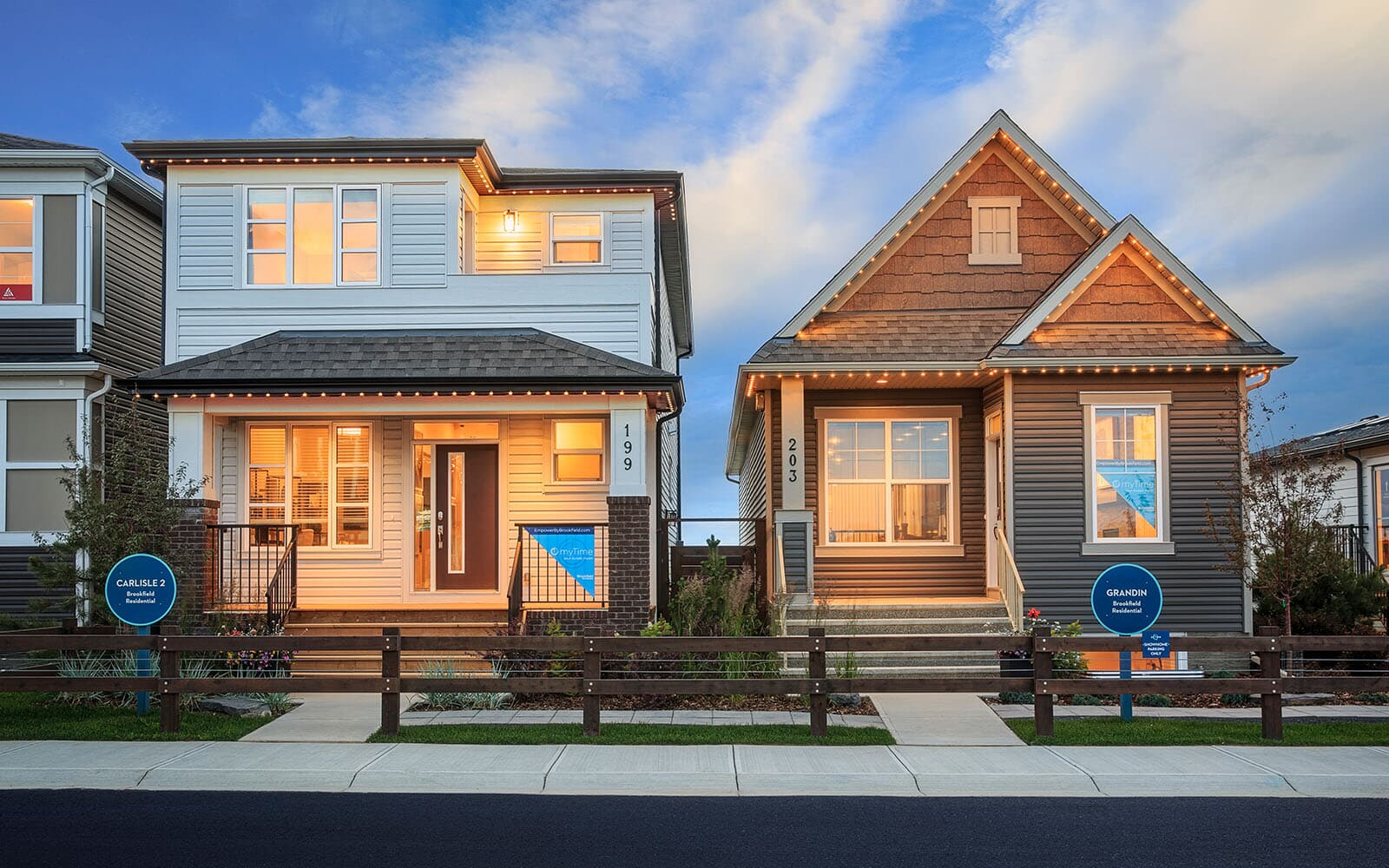A photo of the exteriors of Brookfield Residential's Laned Showhomes in Seton, Calgary