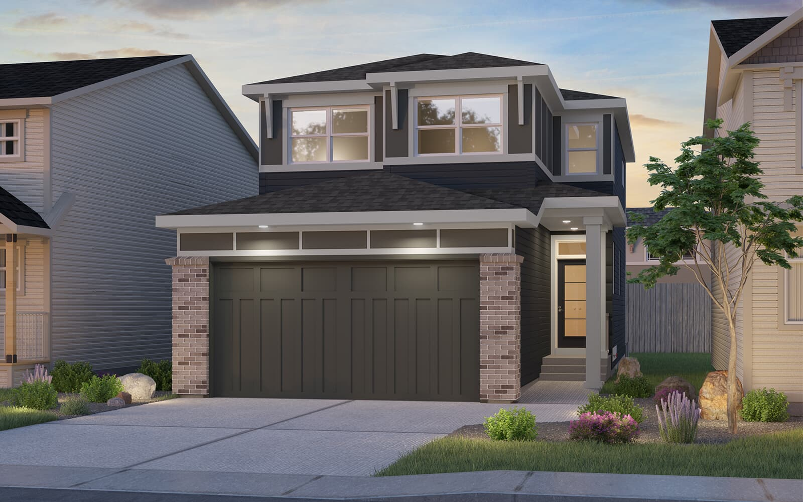 Exterior view of the Logan model by Brookfield Residential in Calgary.