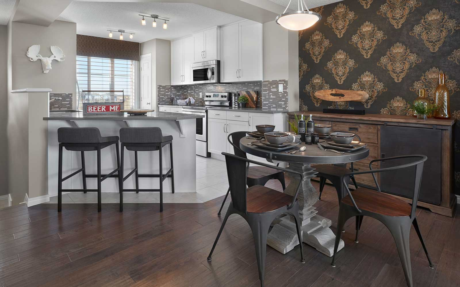 The dining area in the Van Gogh townhome model by Brookfield Residential in Edmonton.