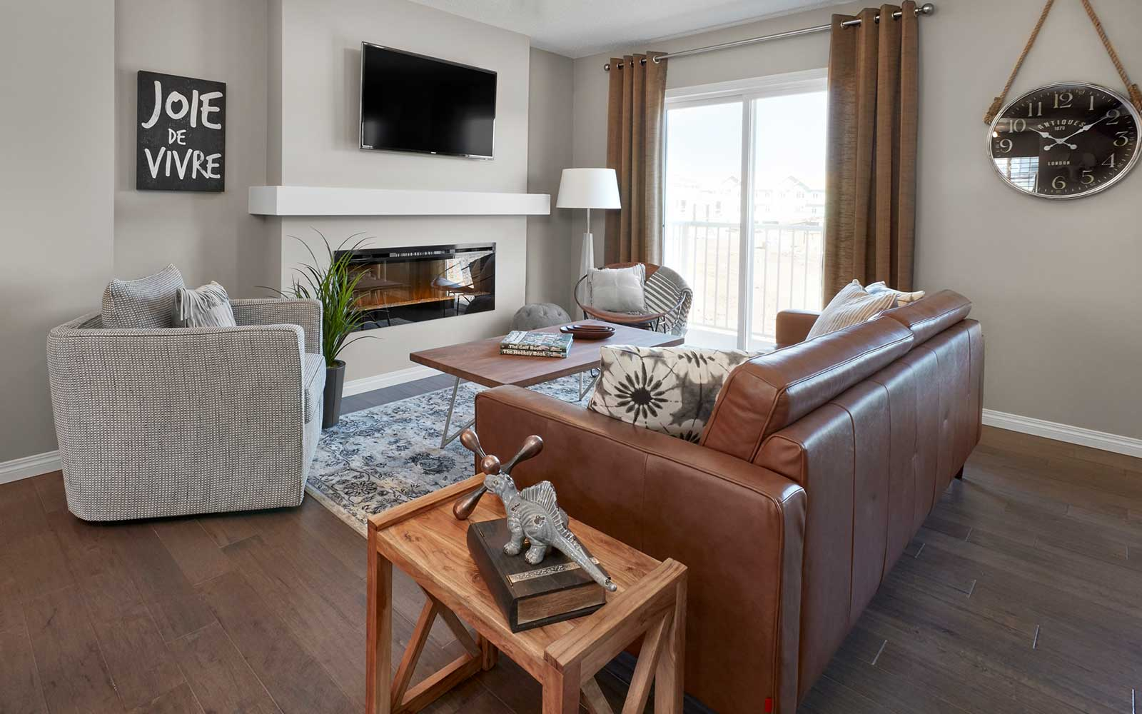 A living room in the Van Gogh townhome model by Brookfield Residential in Edmonton.