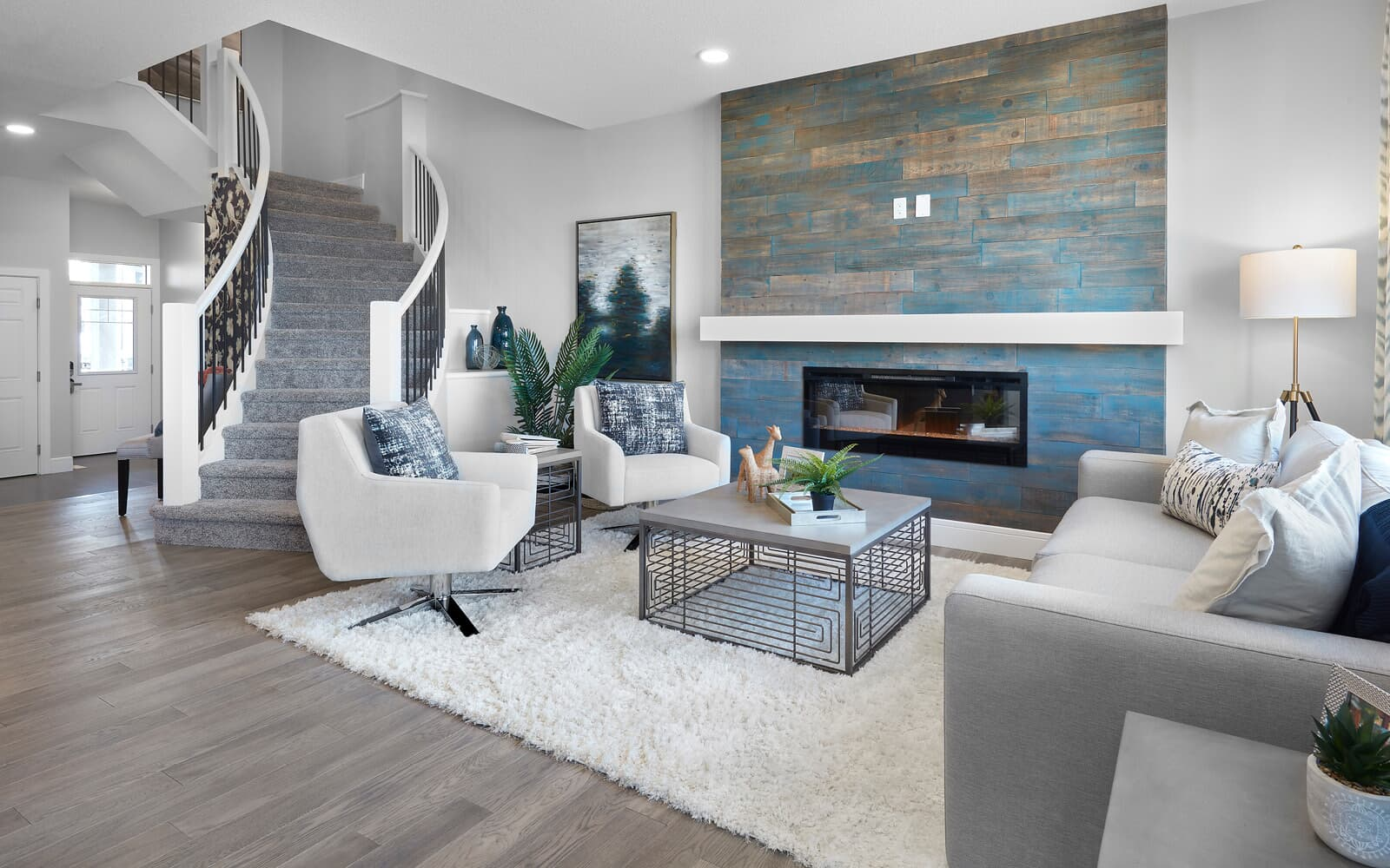 The living room in the Robson by Brookfield Residential in The Orchards, Edmonton, Alberta.