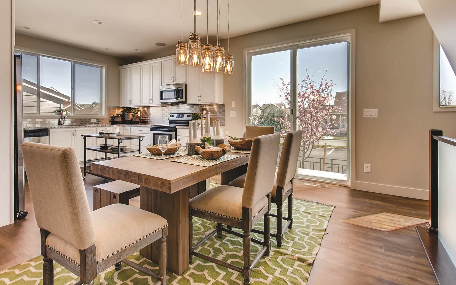 Avenue Five Model Interior Dining Kitchen Brighton Crossings Denver Colorado