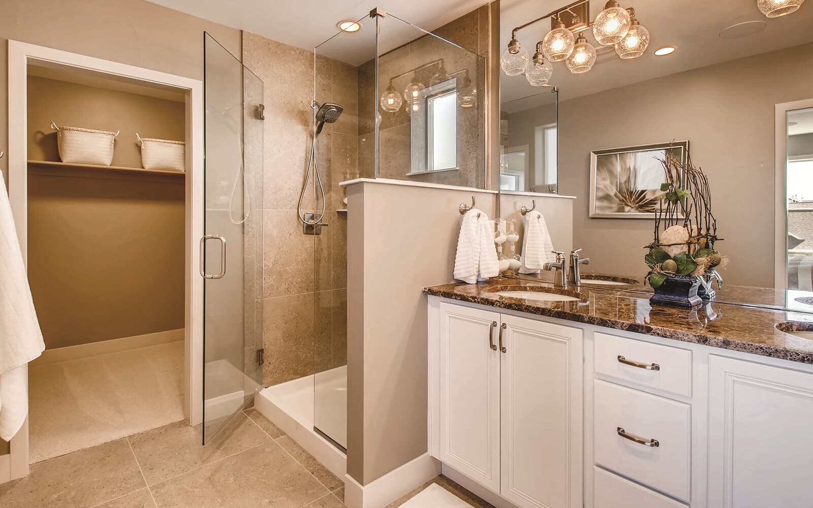 Avenue Five Model Interior Master Bathroom Brighton Crossings Denver Colorado