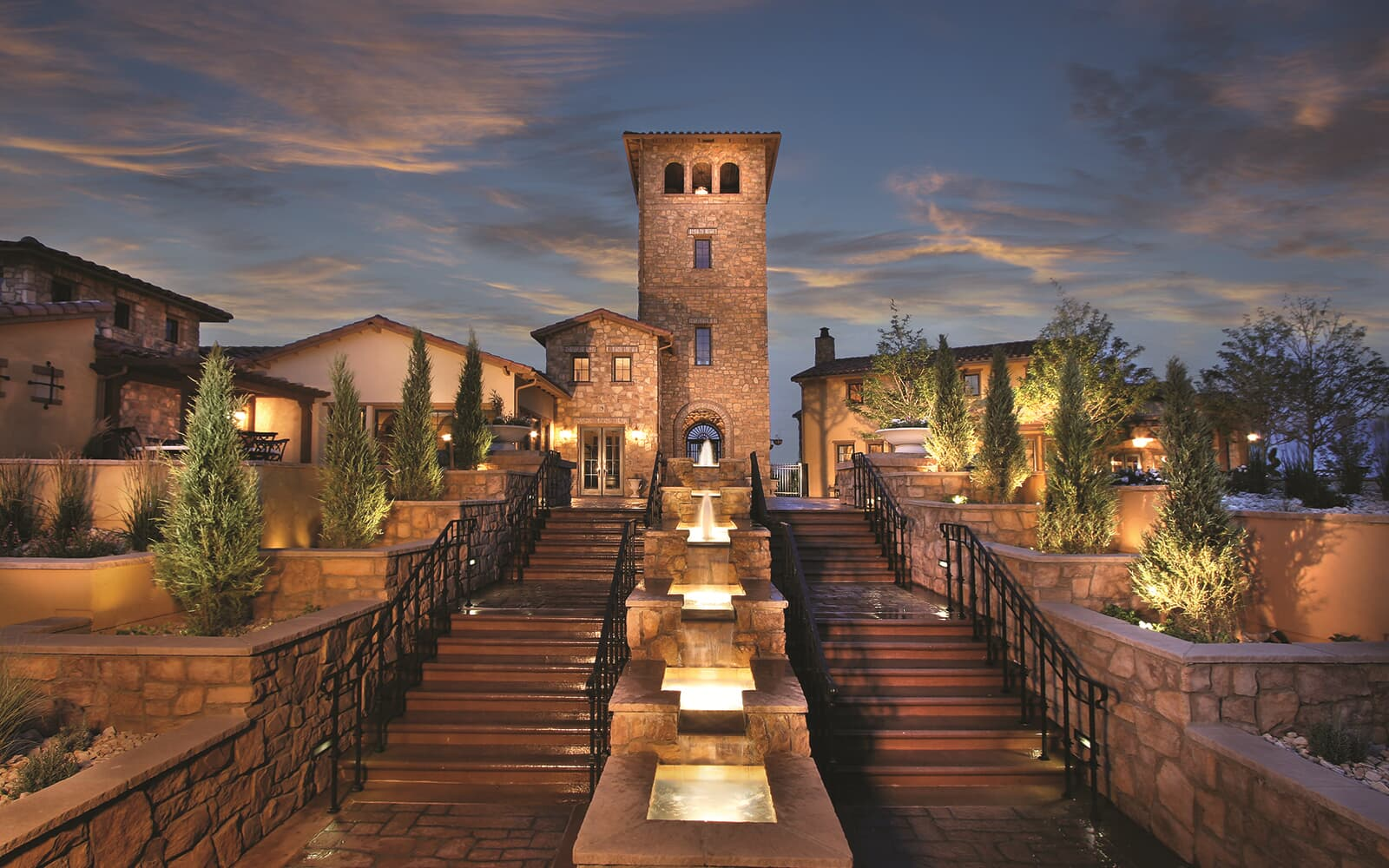 Lifestyle-Photo-Community-Retreat-Fountains-Tower-Dusk-Solterra-Denver-Colorado