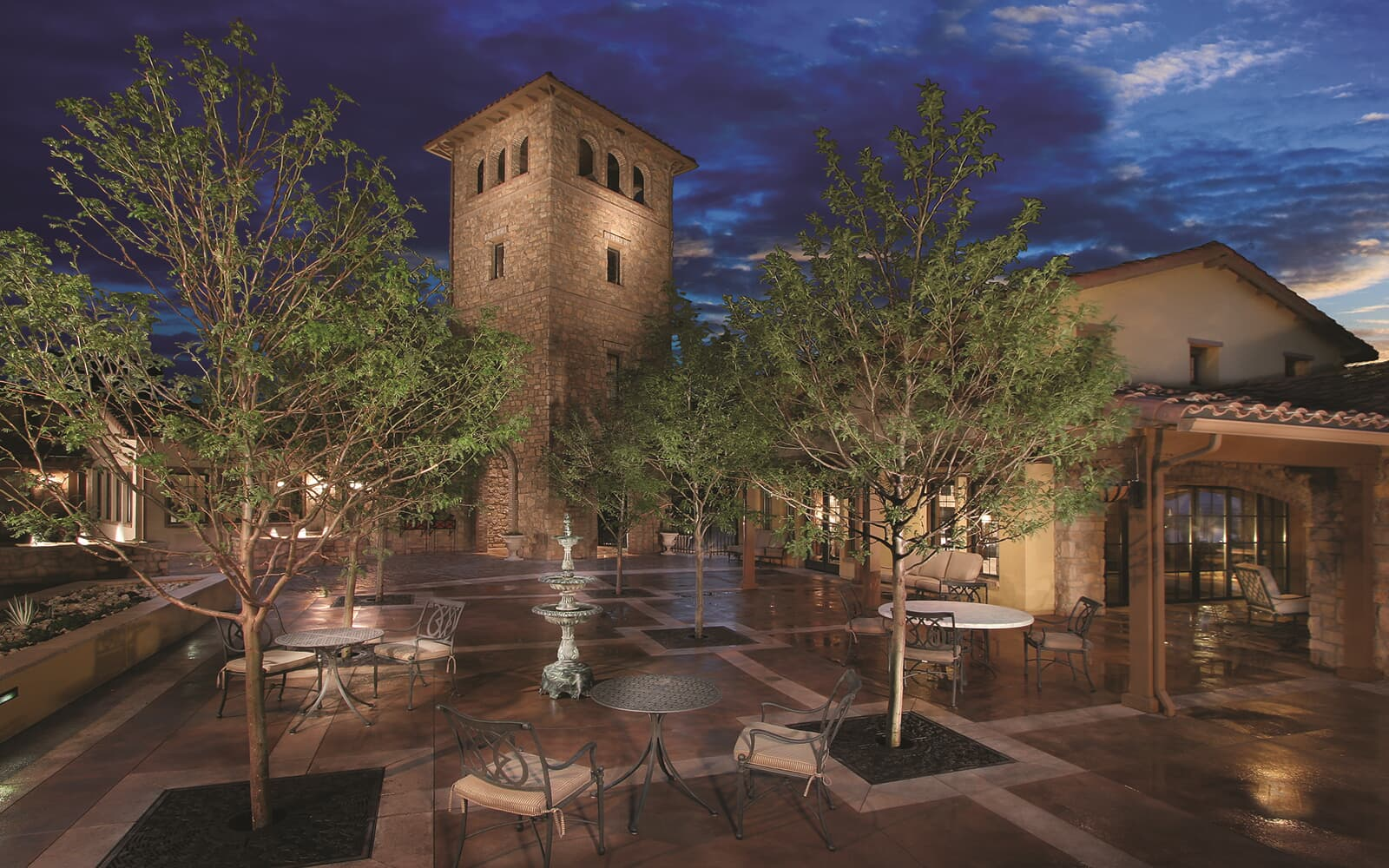 Lifestyle-Photo-Community-Retreat-Patio-Dusk-Solterra-Denver-Colorado