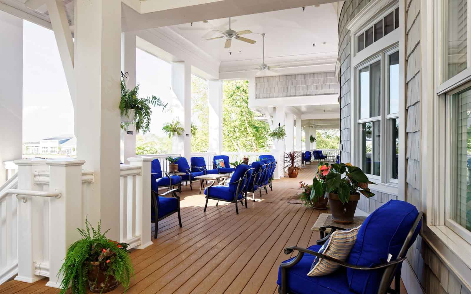 Outdoor seating for relaxation at the Heritage Shores clubhouse in Bridgeville DE