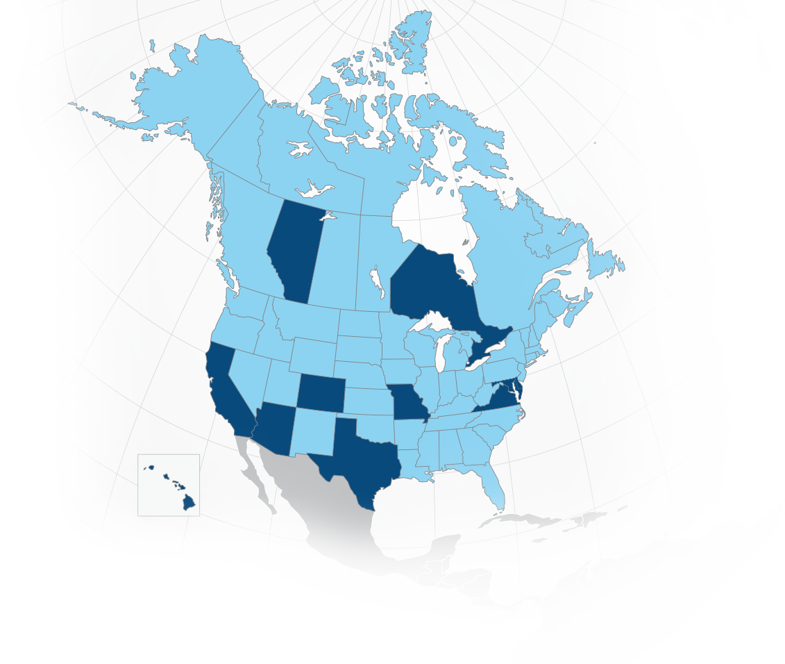 Map of Canada and United States