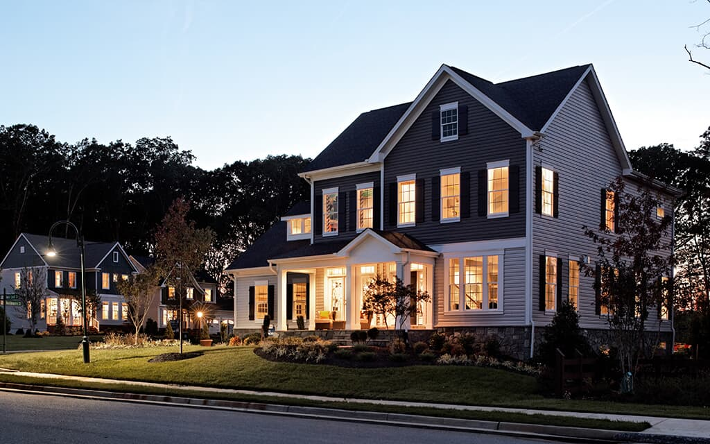 Outdoor evening view of homes | Brookfield Residential