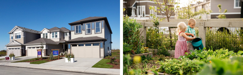 L: Chappelle Gardens Exterior; R: Children in the Community Garden | Heritage Valley in Edmonton, Alberta | Brookfield Residential