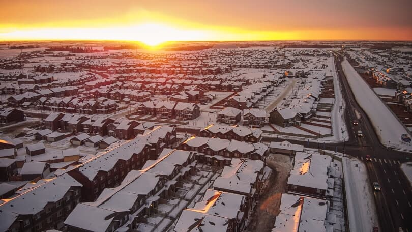 Aerial Sunset | Grove on 25th at The Orchards | Edmonton, Alberta | Brookfield Residential