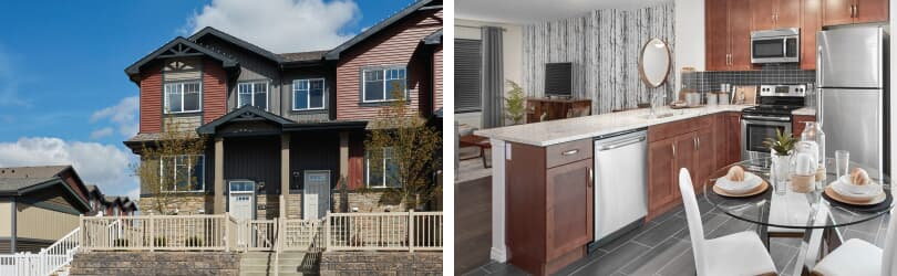 L: Townhome Exterior; R: Kitchen | Grove on 25th at The Orchards | Edmonton, Alberta | Brookfield Residential