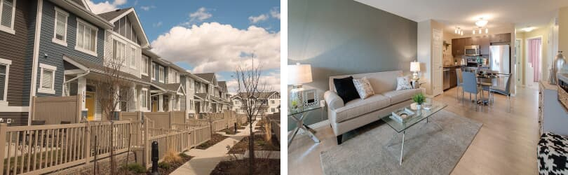 L: Townhome Exterior; R: Great Room | Vista Pointe at Chappelle Gardens | Edmonton, Alberta | Brookfield Residential