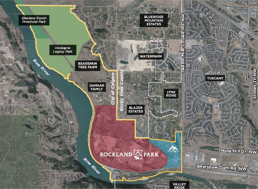 Location map of Rockland Park, a Brookfield Residential community in Calgary, Alberta