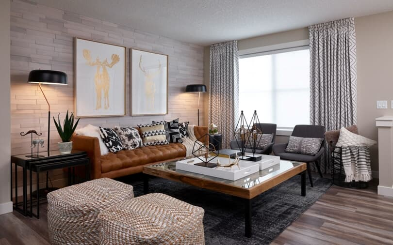 Carmine Living Room at Cranston's Riverstone | Calgary, Alberta | Brookfield Residential
