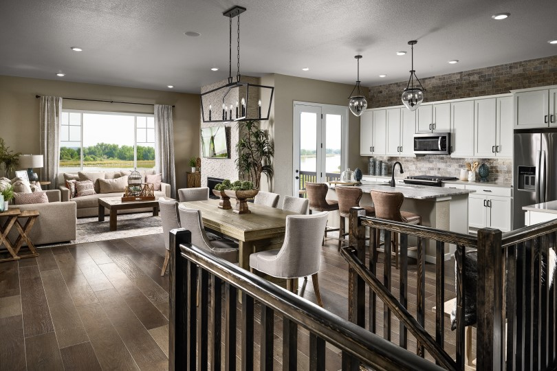 Kitchen and living area in an Ovation Portfolio home