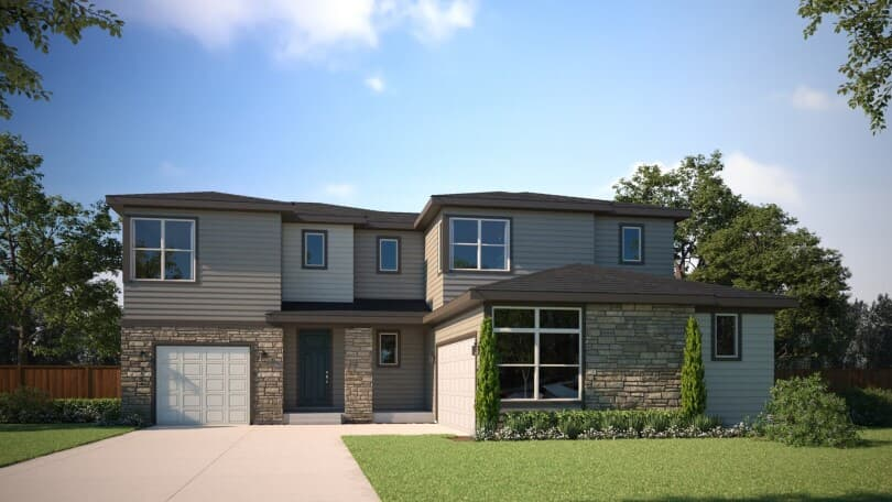 Exterior rendering of Harvest 8 at Barefoot Lakes in Firestone, CO by Brookfield Residential