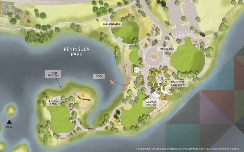 Map rendering of Peninsula Park at Barefoot Lakes in Firestone, CO by Brookfield Residential