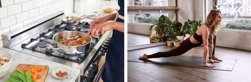 L: Cooking Class; R: Yoga | Spree Living in Colorado | Brookfield Residential