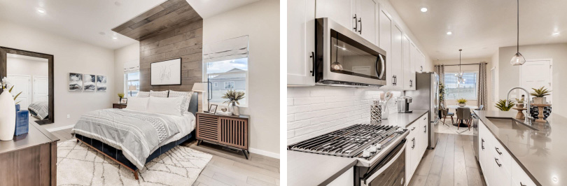 L: Bedroom; R: Kitchen | Barefoot Lakes in Firestone, Colorado | Brookfield Residential