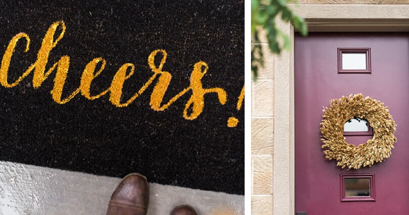 Cheers doormat at new NorCal home and front door wreath at Huntington at Boulevard by Brookfield Residential