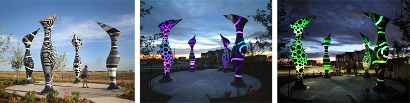 Animated art sculptures in the vibrant community of Paisley in Edmonton, Canada