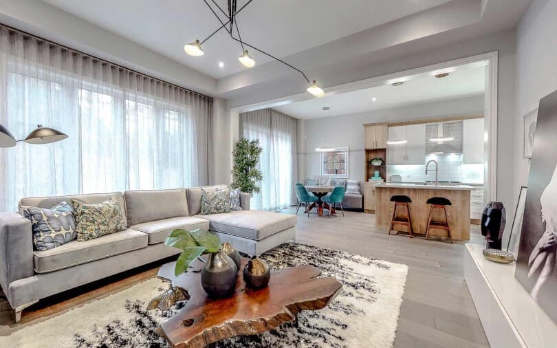Sleek & Sophisticated Living Area at Woodhaven in Aurora, Ontario
