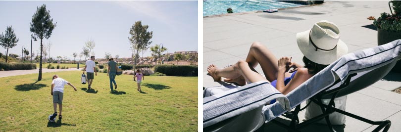 Family in the park and woman by the pool | Audie Murphy Ranch in Menifee, CA | Brookfield Residential