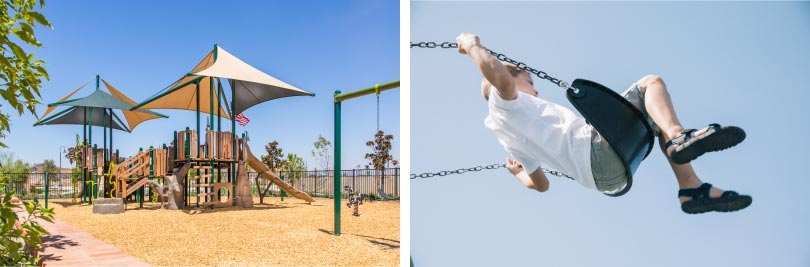 The park and a child swinging | Audie Murphy Ranch in Menifee, CA | Brookfield Residential