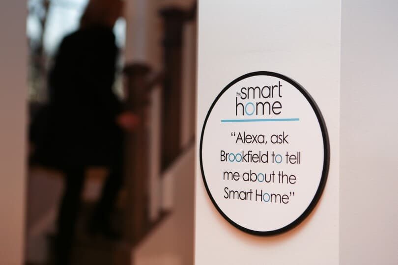 A sign displaying text encouraging you to ask about smart homes from Brookfield Residential