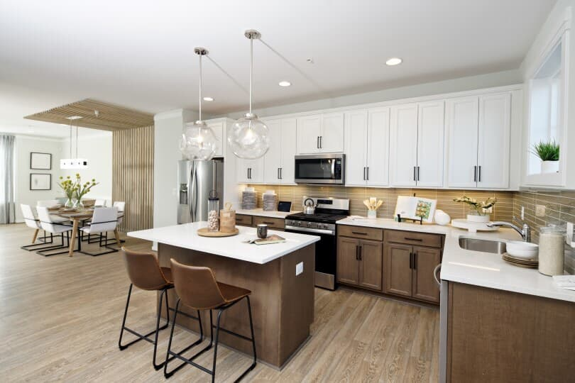 Kitchen with island in the Glendale plan at Dowden's Station in Clarksburg, MD