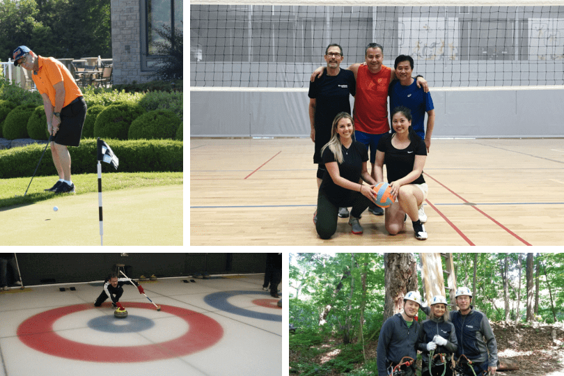 Ken participating in Brookfield events: golf, volleyball, adventure climbing and curling