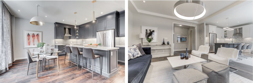 L: Dunbarton Kitchen; R: Liverpool Great Room | New Seaton in Pickering, Ontario