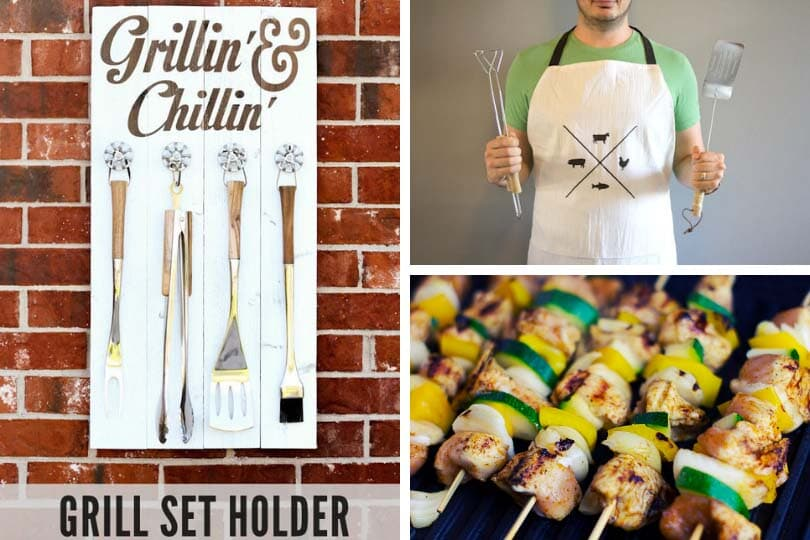 Grill set holder photo via Lil' Luna, DIY manly man apron photo via Lovely Indeed