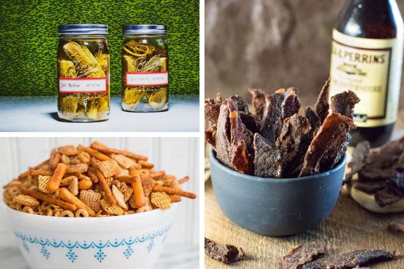 (Clockwise from top left) Garlic dill pickles photo via Epicurious, homemade beef jerky photo via Fox Valley Foodie, classic homemade nuts and bolts photo via The Kitchen Magpie