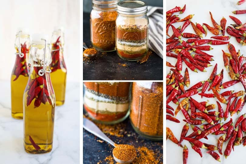 (From left to right) Hot pepper oil photo via A Beautiful Mess, homemade taco seasoning photos via Gimme Delicious, hot peppers photo via A Beautiful Mess