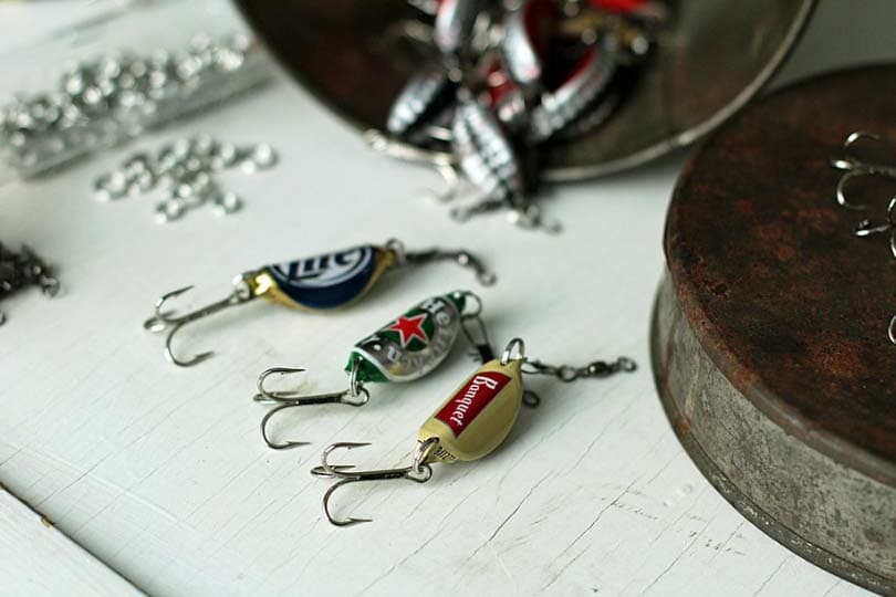 Homemade fishing lures, photo via 2 Little Hooligans