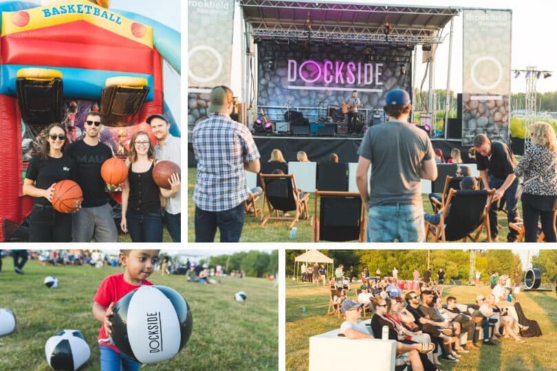 Playing basketball and other games, the stage at Dockside Fest with live music all evening long, the crowd enjoying the show, and fun for all ages with a Dockside beach ball.