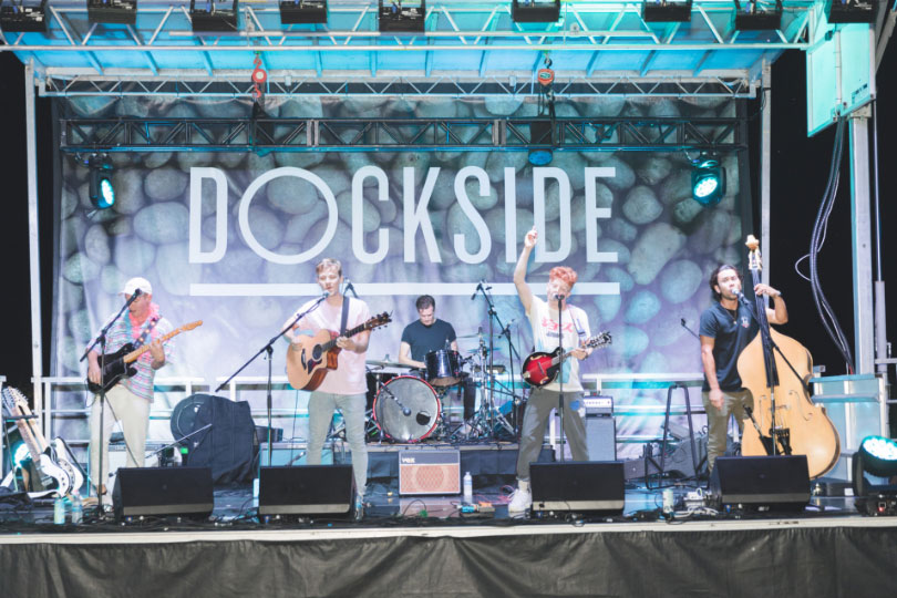 Headliners Birds of Bellwoods performing on stage at Dockside Fest