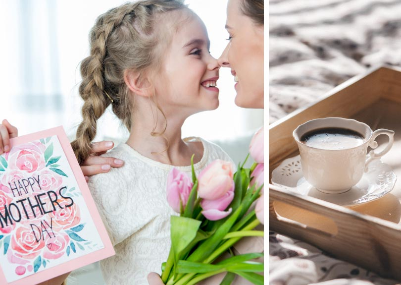 Girl smiling at mom and coffee tray collage