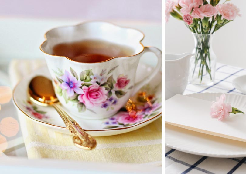 Tea cup and table decoration collage