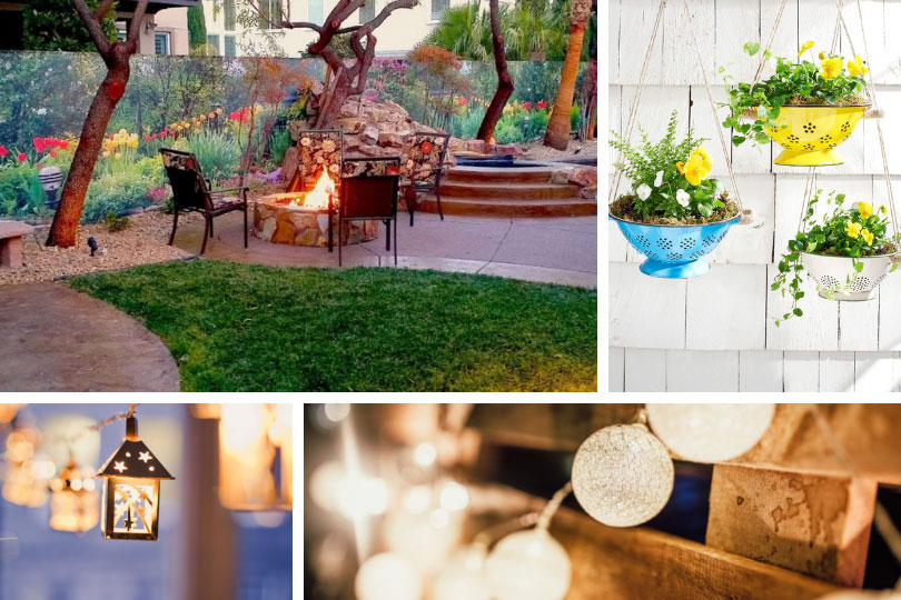 Backyard living – outdoor decor: wall decal, diy hanging planters and string lanterns