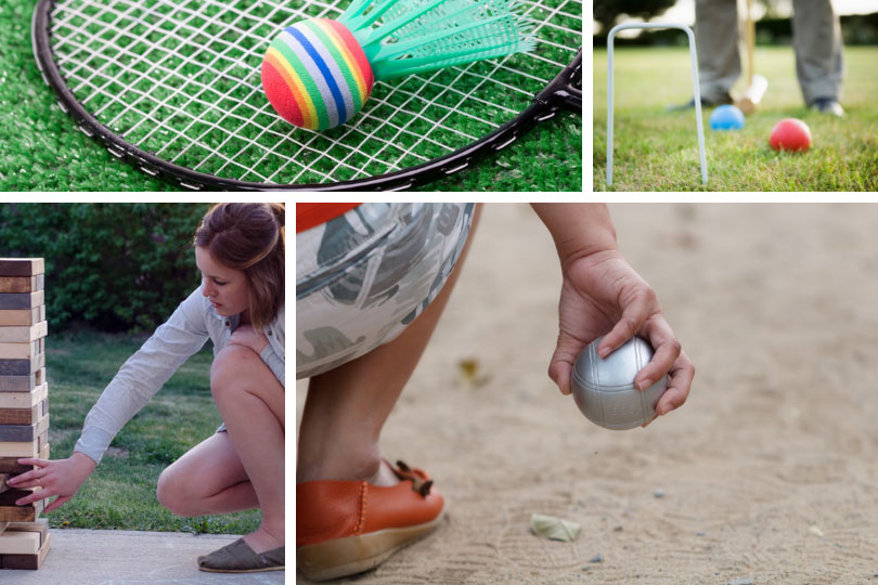 Backyard living – outdoor games: badminton, croquet, boules, Jenga DIY